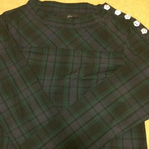 JCrew Navy and Green Plaid Shirt